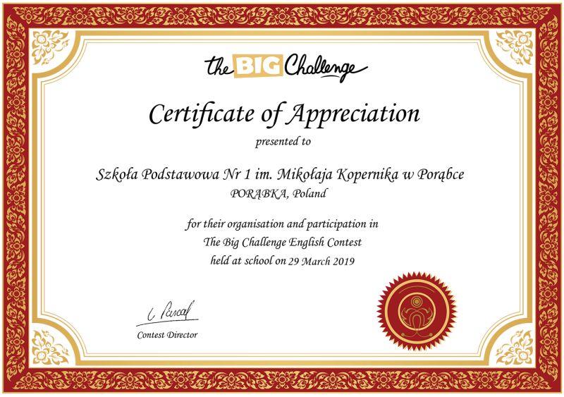 certificate 2019 school 041073